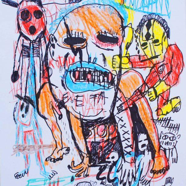 """""""S/T 27"""" / 48x32 cm / Fibrón y crayón sobre papel"""