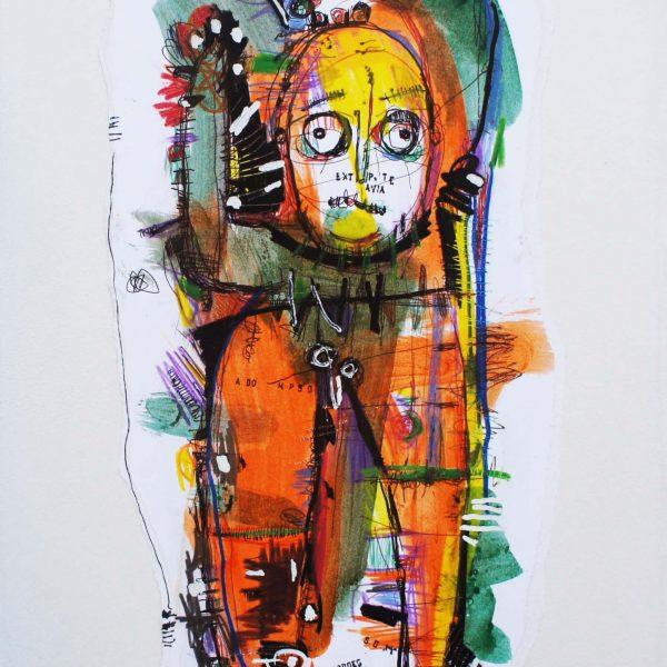 """""""S/T 31"""" / 33x54 cm / Acrílico, fibrón y crayón sobre papel"""