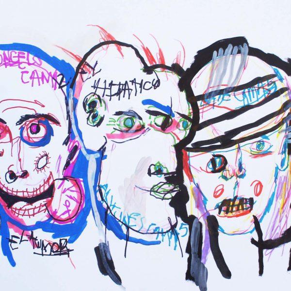 """""""S/T 32"""" / 33x48 cm / Acrílico, fibrón y crayón sobre papel"""