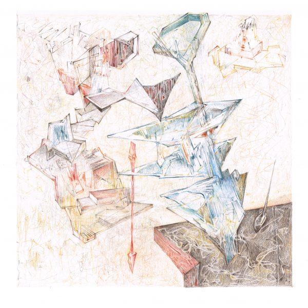 """Azada de Agua"" / lápiz color sobre papel / 60x54 cm enmarcado"