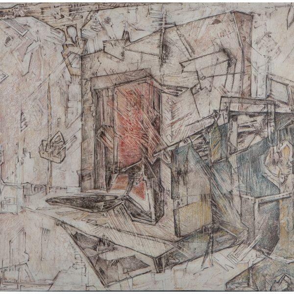 """""""La bestia y el enigma"""" / lápiz color marouflage sobre tabla / 35x50 cm"""