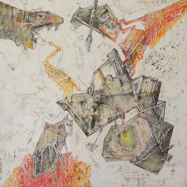 """""""Kafkiano"""" / lápiz color y gráfito acuarelable sobre tabla / 30x30 cm"""